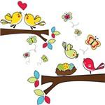 Adesivo de Parede Quarto Infantil Galhos Pássaros e Ninho