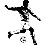 Adesivo de Parede Soccer Player Peel & Stick Giant Wall Decals Roommates Preto/Branco (101,6x45,7cm)