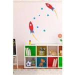 Adesivo Decorativo Foguete + Estrelas para Quarto Infantil