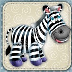 Adesivo Decoupage com Glitter Litocart 10x10 LAXG-040 Zebra