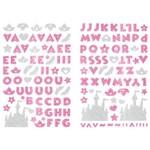 Adesivo Disney Alfabeto Eva Puro Glitter Toke e Crie 240 X 140 Mm - Princesas Rosa - 20806 - Add19
