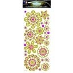Adesivo Fashion C/Glitter Flores Estilizadas Ad1357 Tec