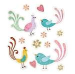 Adesivo FM com Glitter Mini Pássaros Estilizados AD1496 - Toke e Crie