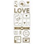 Adesivo Foil Metalizado Toke e Crie AD1839 Detalhes de Amor Dourado