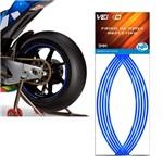 Adesivo Friso Fita Refletivo Roda para Moto 5MM Azul