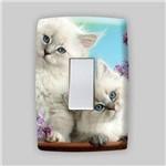 Adesivo para Espelho de Tomada ou Interruptor - Animais Gatinhos Branco