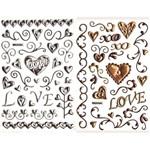 Adesivo Puffy Metálico Amor Vintage 2 Cartelas Ad1505 - Toke e Crie