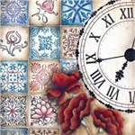 Adesivo Quadrado 15x15 Flores e Relogio LAQXV-23 - Litocart