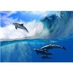 Adesivo Reaplicável Golfinho Surfista 120x80cm