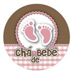 Adesivo Redondo Chá de Bebê Pezinho Rosa Adesivo P/ Lembrancinha Redondo Chá de Bebê Pezinhos Rosas - 10 Unidades