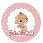 Adesivo Redondo Chá de Fralda Menina Adesivo P/ Lembrancinha Redondo Chá de Fralda Menina - 10 Unidades