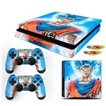 Adesivo Skin Playstation 4 Slim Goku Super Sayajin Blue
