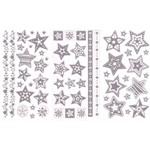 Adesivo Tecido Glitter Estrelas 3 Unidades Prata Ad1006 - Toke e Crie