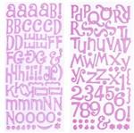 Adesivo Thickers Chipboard American Crafts WER053 Alfabeto Glitter Rosa Claro 2 Unidades