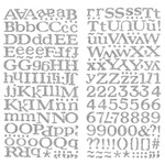 Adesivo Thickers Chipboard American Crafts WER054 Alfabeto Glitter Prata 2 Unidades