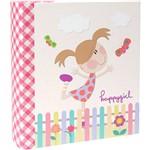 Álbum Infantil Happy Girl Folhas Coladas 60 Fotos 10x15cm Rosa - Ical
