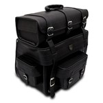 Alforge Traseiro Custom Couro Ecológico 60 Litros Preto Liso Sissy Bag
