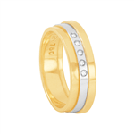 Aliança em Ouro 18K Feminina Bicolor com Diamantes - AU6335