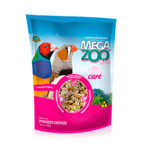 Alimento Mega Zoo Mix para Aves Exóticas 350g