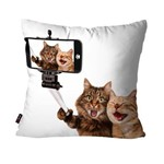 Almofada Avulsa Branco Cat Selfie