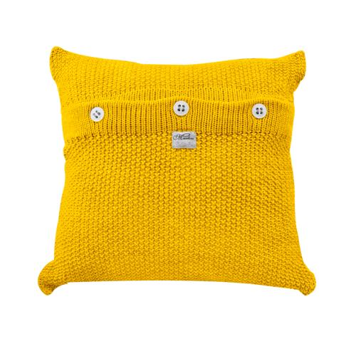 Almofada de Tricot Ponto Clássico Amarela 45 X 45 Cm