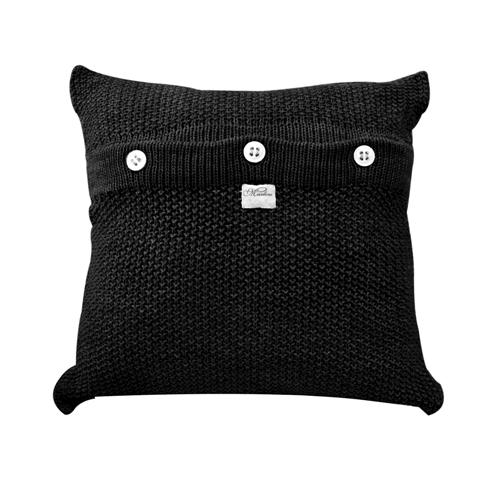 Almofada de Tricot Ponto Clássico Preta 45 X 45 Cm