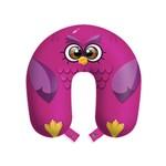 Almofada de Viagem Coruja Rosa Travesseiro Apoio Corujinha Pink com Botão
