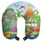 Almofada Infantil Dinossauros Travesseiro de Pescoço para Viagem e Descanso com Botão
