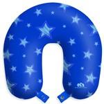 Almofada Travesseiro de Pescoço para Viagens e Descanso - Estrelas Azuis com Botão