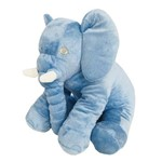 Almofada Travesseiro Elefante de Pelúcia para Bebê Dormir Azul 60cm - LuckBaby