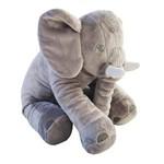 Almofada Travesseiro Elefante de Pelúcia para Bebê Dormir Cinza 60cm - LuckBaby