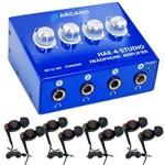 Amp de Fones Arcano Hae4studio + 04 Fones Live-7 + 04 Extensores