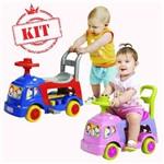 Andador Didático 4 em 1 Azul 1005 Menino e Andador Rosa Menina 1006 - Magic Toys