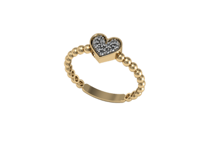 Anel Coração Bolinhas com Diamantes Ouro Amarelo T10