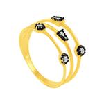 Anel em Ouro 18K com Topázio Azul e Detalhe em Ródio - AU5654