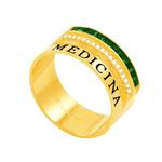 Anel em Ouro 18k Formatura Medicina com Zircônia - AU3234