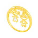 Anel em Ouro 18K Menina e Menino com Zircônia - AU5162