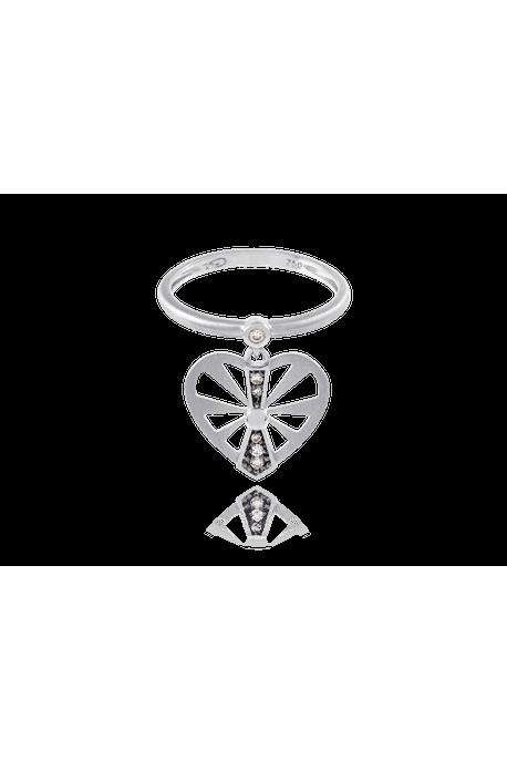 Anel Flash Vazado Mini Branco com Diamante Chocolate - 17