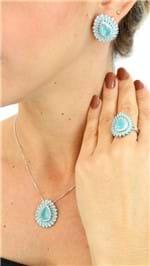 Anel Gota Zircônia Azul A0111