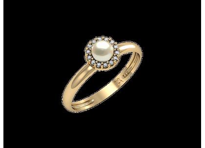 Anel Pérola e Diamantes Ouro Amarelo T15