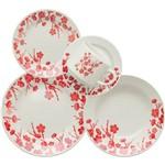 Aparelho de Jantar 30 Peças Oxford Biona Jardim Oriental, Branco/vermelho