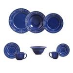 Aparelho de Jantar 42 Pecas Acanthus Azul Navy com 6 Bowls Porto Brasil