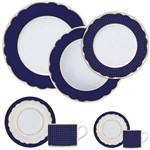 Aparelho de Jantar 42 Peças Branco e Azul Royal Blue Germer