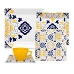 Aparelho de Jantar/Chá 30pçs - Amarelo, Azul, Branco - Quartier
