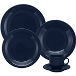 Aparelho de Jantar e Chá 20 Peças Cerâmica Floreal Denim Azul - Oxford Daily