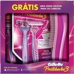 Aparelho para Depilar Gillette Prestobarba 3 Feminino com 4 Unidades Grátis Escova para Cabelo