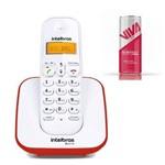 Aparelho Telefone Fixo Sem Fio Digital Branco Vermelho Bina