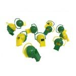Apito Bola Amarelo e Verde - Pacote com 20 Unidades