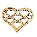 Aplique Coração com Corações - Mdf a Laser
