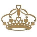 Aplique Coroa com Corações em MDF 20x15cm - Palácio da Arte